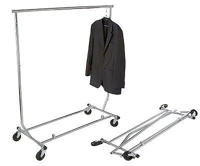 New Collapsible Folding Salesman Rolling Clothing Garment Retail Display Rack