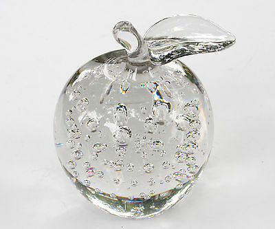 Vintage Apple Art Glass Paperweight Crystal Clear With Controlled Bubbles Nice