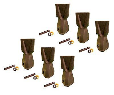 6 Backhoe Bucket Teeth 208-5235 - Penetration Tip W Pin Fits Cat Drs230