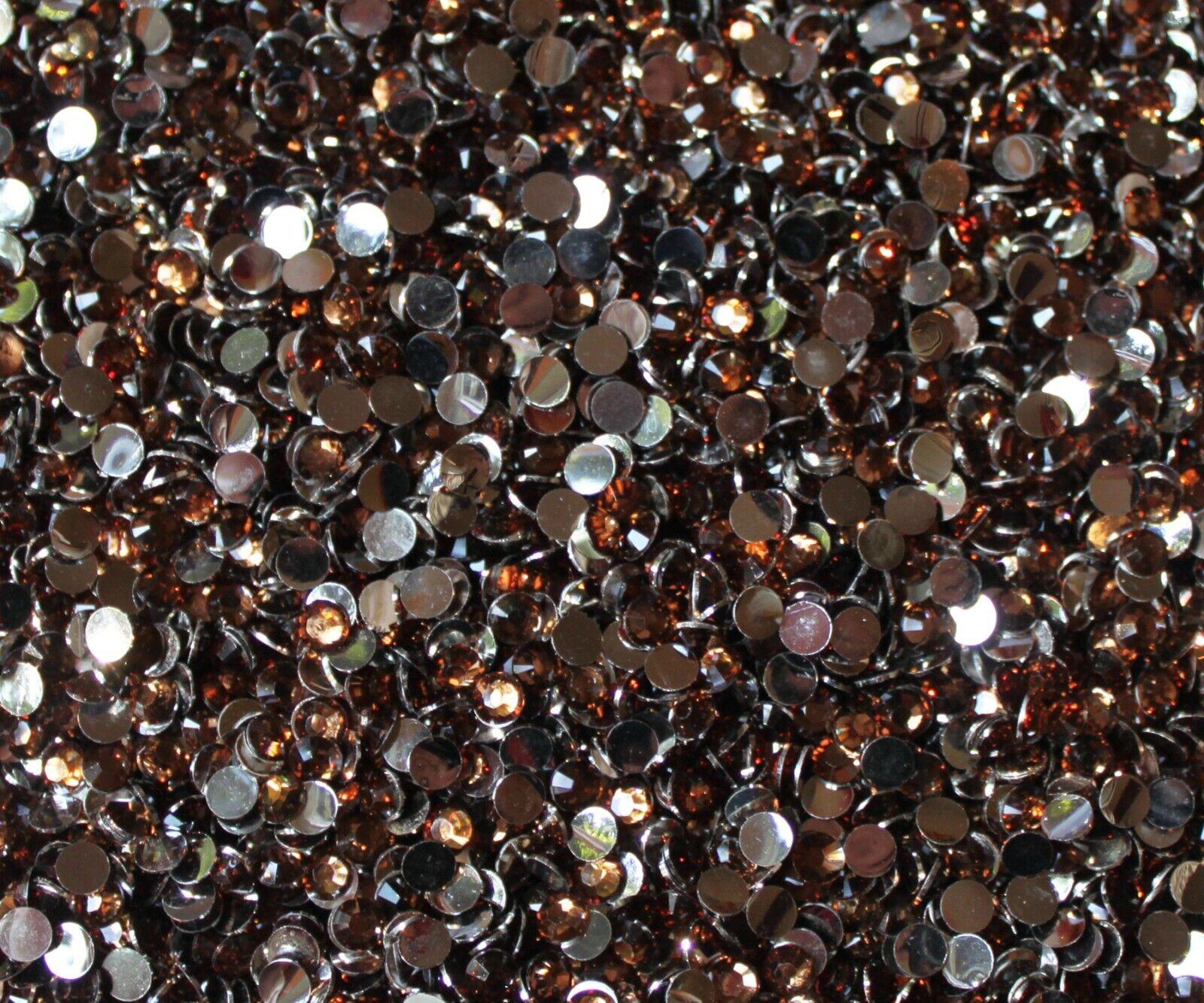 1000 Crystal Flat Back Resin Rhinestones Gems 60 colors, 2mm, 3mm, 4mm, 5mm, 6.5 SMOKY TOPAZ