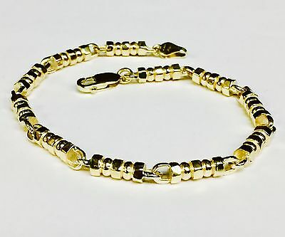 "14k Solid Yellow Gold Men's Fashion Link chain/Bracelet 8"" 4.5 mm 24 grams"