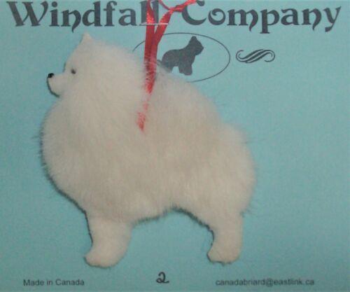 White Pomeranian Pom Dog Soft Plush Canine Christmas Ornament # 2 by WC