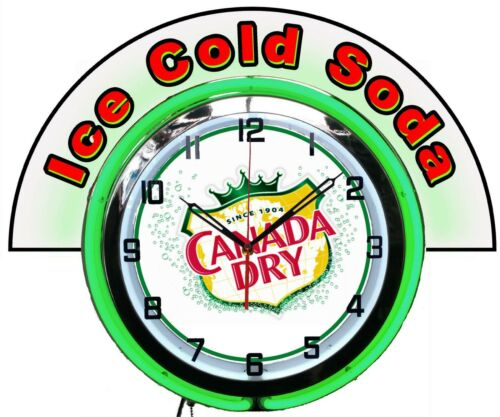 """Canada Dry Ginger Ale w/ Ice Cold Soda Marquee 19"""" Green Neon Clock Mancave Bar"""
