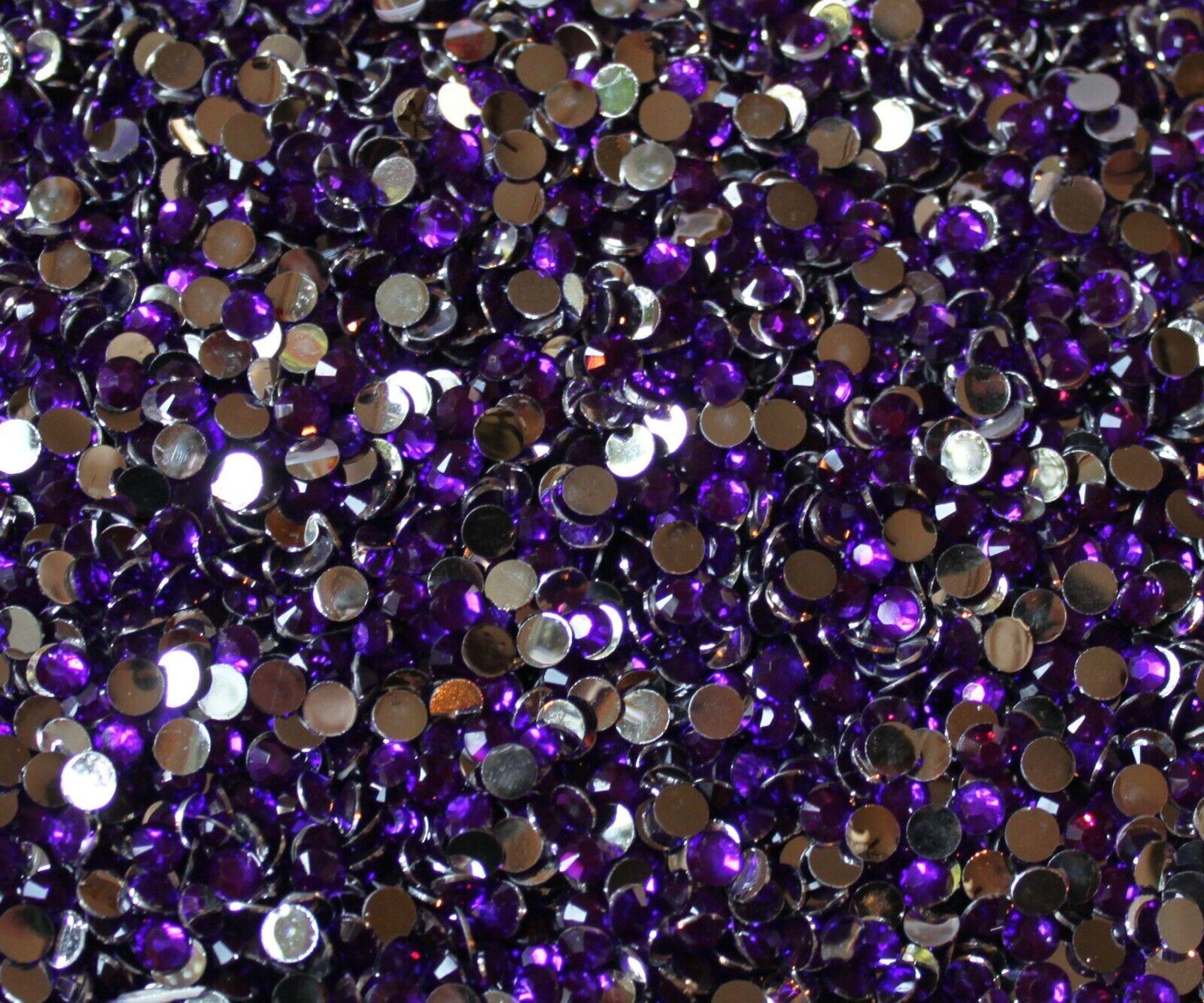 1000 Crystal Flat Back Resin Rhinestones Gems 60 colors, 2mm, 3mm, 4mm, 5mm, 6.5 VIOLET