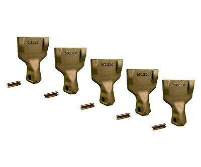 5 Backhoe Bucket Teeth- 195-7210 Wide Tip W Pins Fits Cat Drs200 Adapters