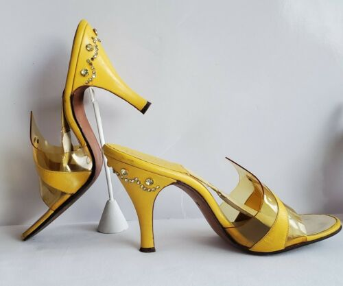Vtg. 50s Pinelli Originals of California Yellow Lucite Springolators Heels 5