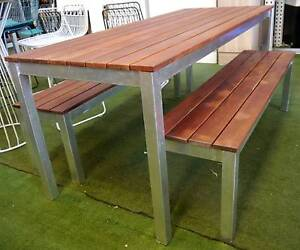 New Outdoor Furniture Timber 3 Pc Bar Restaurant Cafe Dining Set Melbourne CBD Melbourne City Preview