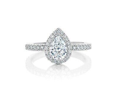 Gorgeous 2.00 ct. Pear Cut Diamond Halo Pave Engagement Ring GIA H, VS2 18k 4
