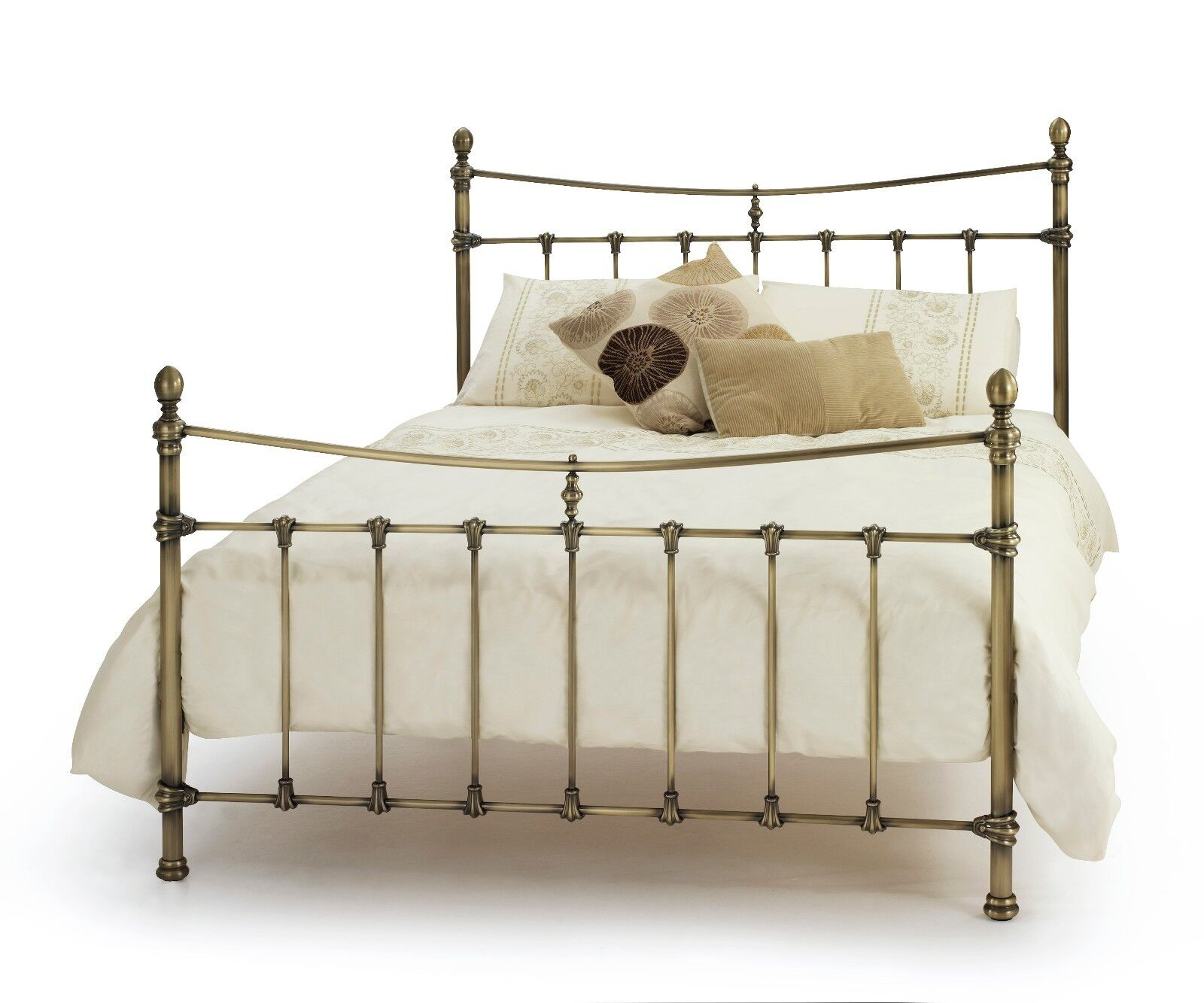 estelle georgian quality metal bed frame in antique brass 4ft6 double 5ft king ebay. Black Bedroom Furniture Sets. Home Design Ideas
