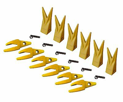 6 Cat J200 Style Backhoe Bucket Shanks 1 Lip Rock Teeth 1u-3202wtl 119-3204