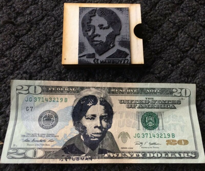 Harriet Tubman Rubber Stamp for $20 Bill. Includes Ink Pad and Instructions.