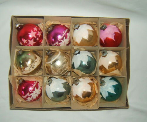 "VTG Shiny Brite Christmas Stenciled Ornaments JUMBO 3.25"" ~ Lot of 12 with Box"