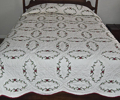 Vintage Red & White Christmas Embroidered Quilt 109x91