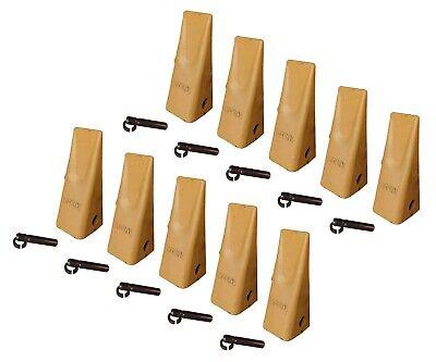 10 Caterpillar Style Backhoe Bucket Dirt Teeth W Pins Retainers - 1u-3202