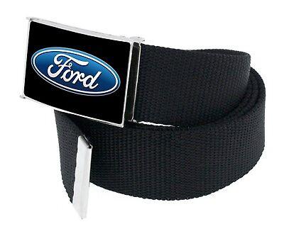 - Web Belt Buckle Mens Women Kids Ford Oval FEB Black