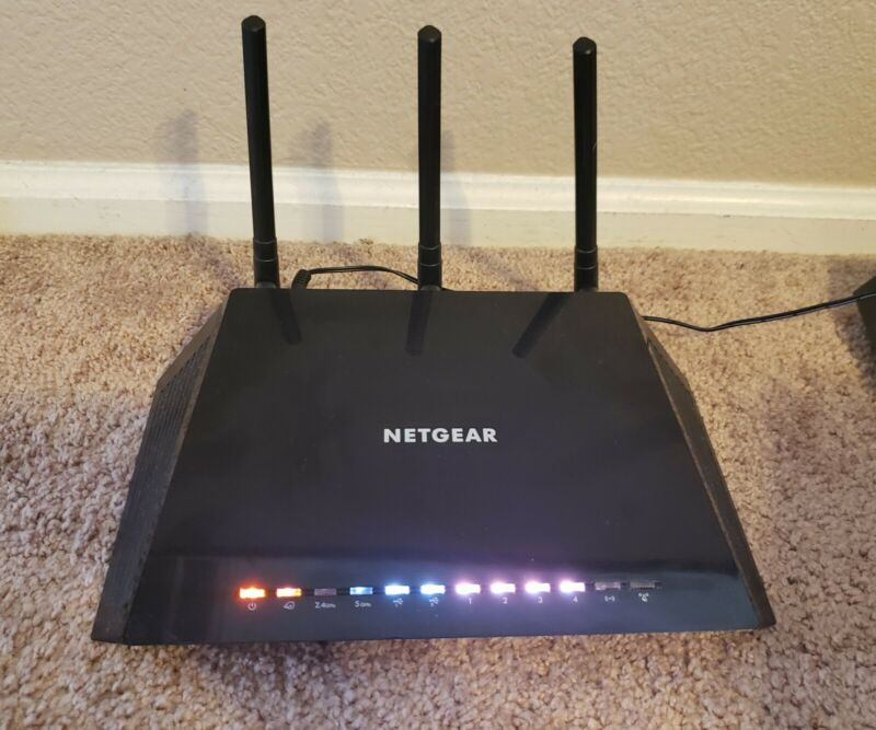 NETGEAR Nighthawk AC1750 R6400 Smart WiFi Duql Router w/ Power Cord Tested Works