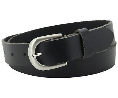 Echt Ledergürtel für Herren & Damen 3 cm Jeans Leder Gürtel Schwarz #3-0005-11 (Damen-gürtel Für Jeans)