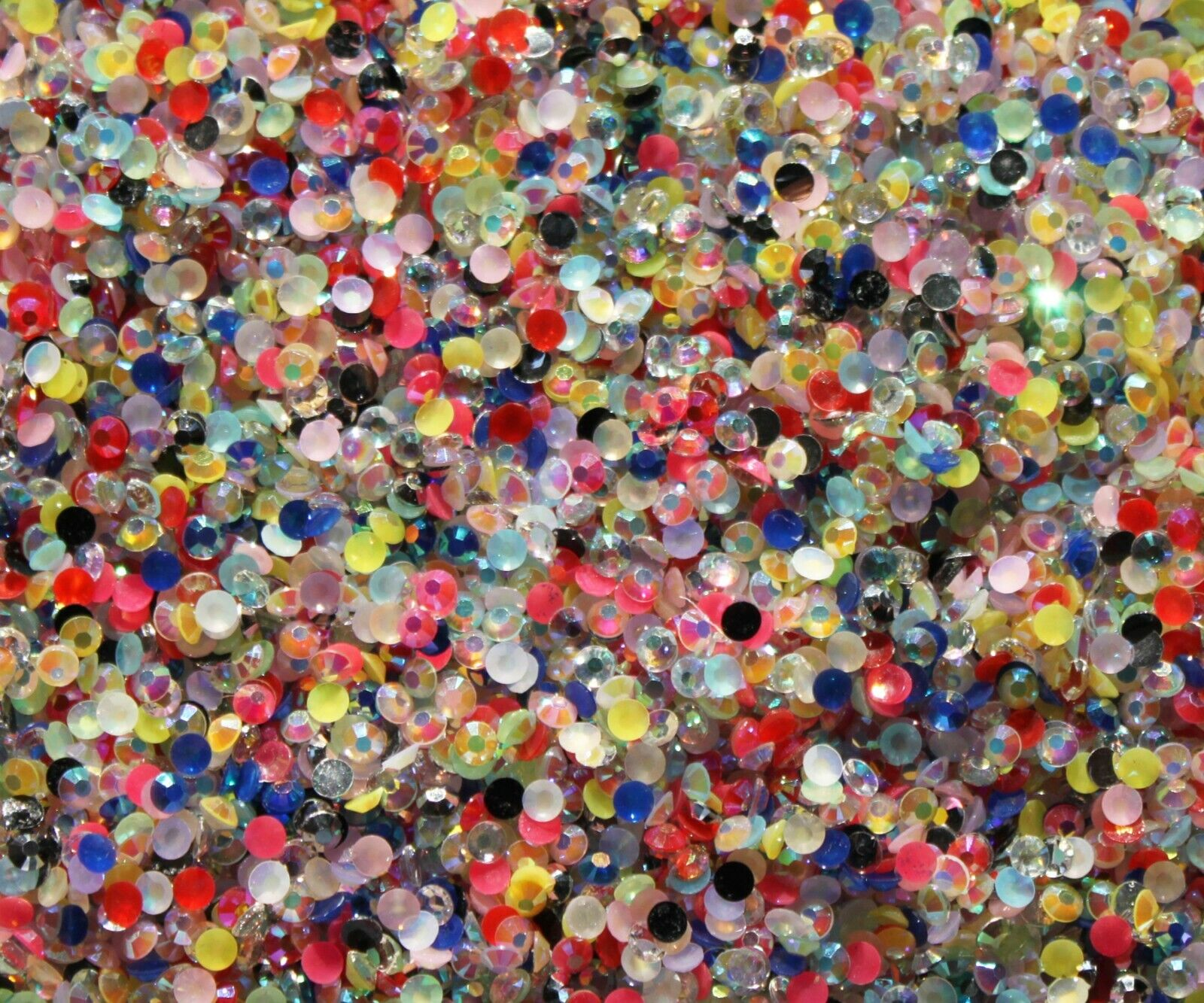 1000 Crystal Flat Back Resin Rhinestones Gems 60 colors, 2mm, 3mm, 4mm, 5mm, 6.5 MIXED AB COLOUR