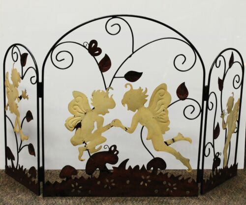 """Antique Metal Fireplace Screen with Pixies and Vines, 26""""x44"""""""