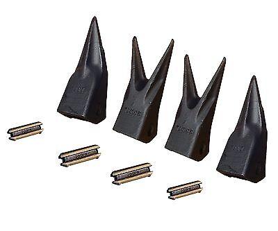 Set Ot 4 - Backhoe Mini Excavator Twinsingle Tiger Teeth W Pins 23tl 23wtl