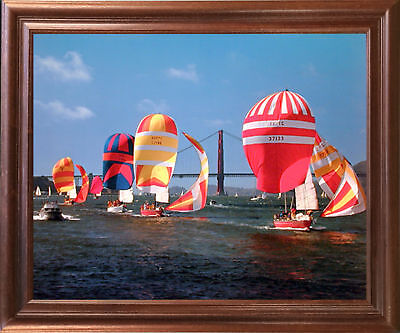 Sailboats Yuschenkoff Ocean Boating Scenic Wall Decor Mahogany Framed Picture