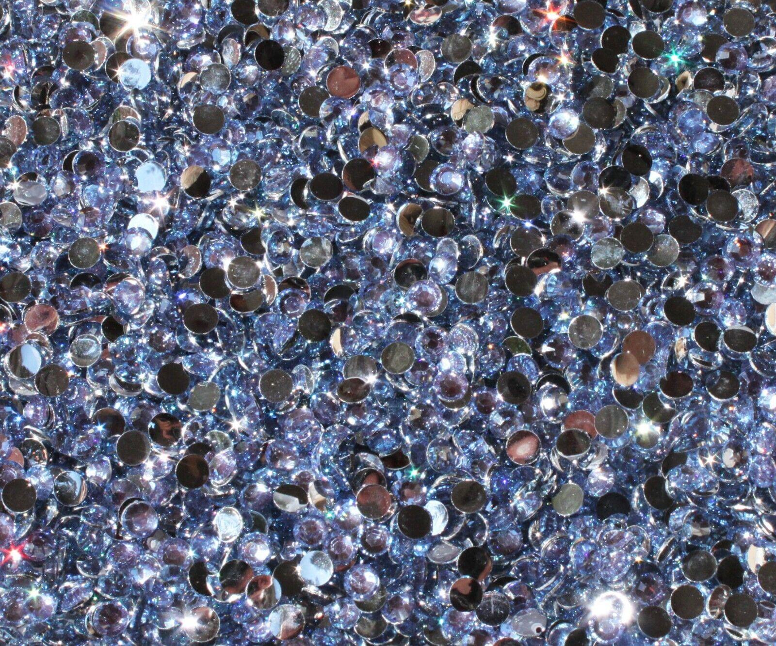 1000 Crystal Flat Back Resin Rhinestones Gems 60 colors, 2mm, 3mm, 4mm, 5mm, 6.5 LIGHT SAPPHIRE