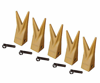 Backhoe Bucket Cat Style Tiger Teeth With Pins Retainers Set Of 5 1u3202wtl