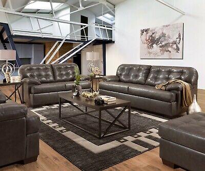 Acme Furniture Saturio Gray Top Grain Leather Sofa and Loveseat