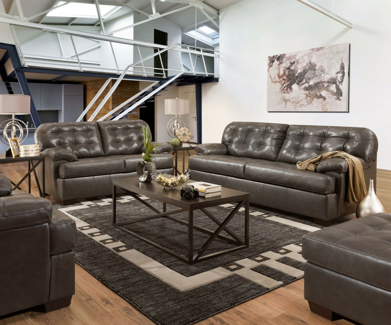 Acme Furniture Saturio Gray Top Grain Leather Sofa and Loves