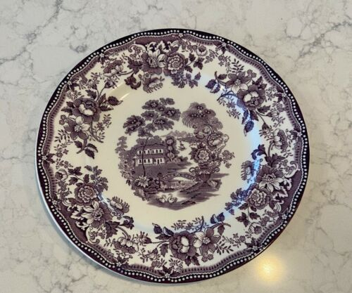 TONQUIN Royal Staffordshire PLUM  Bone China DINNER PLATE  9 7/8in Transferware