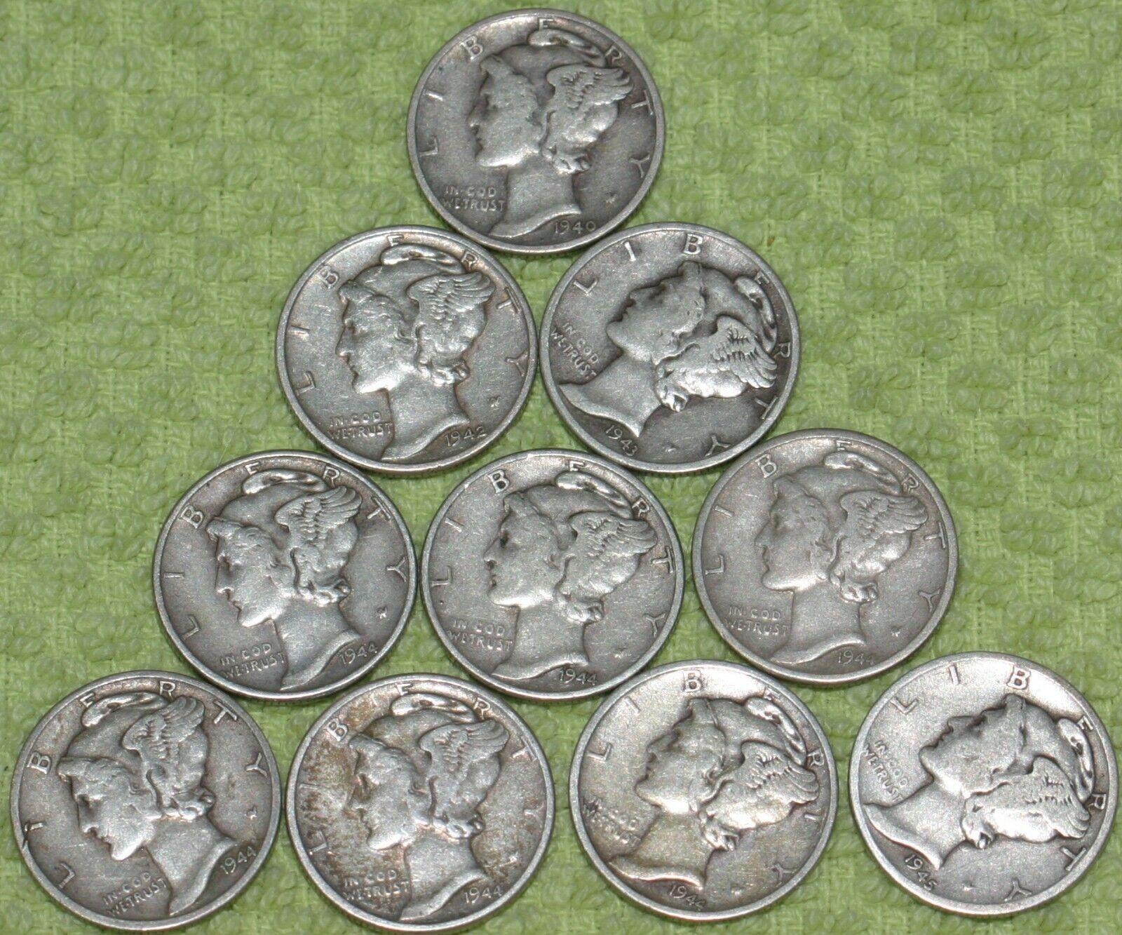 Group Of Ten Average Circulated Mercury Dimes - $19.76