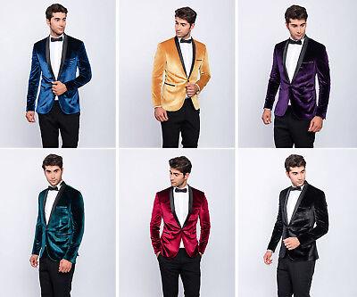 Slim Fit Herren Sakko in Blau•Gold•Grün•Lila•Rot•Schwarz mit - Lila Anzug