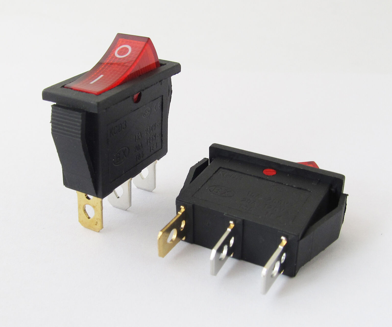 1x Car KCD3 Red Switch On-Off 3Pin DPST Boat Rocker Switch 15A/20A ...