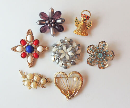 Vintage Designer Signed Brooch LOT- Costume Jewelry- CORO, SARAH COVENTRY ETC
