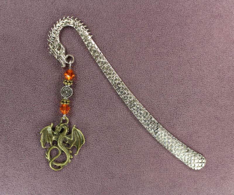 DRAGON TOTEM BOOKMARK Silver Wand Bronze Orange Fantasy Mythic Magic Pagan Wicca