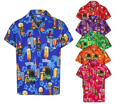 MENS HAWAIIAN SHIRT BEER BOTTLE STAG FANCY DRESS BEACH HOLIDAY SUMMER