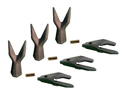 3 Backhoe Bucket Adapters34 Lip Twin Sharp Teeth Pins Fits Cat Drs200