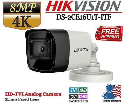 Hikvision 8MP 4K Turbo HD Analog Bullet Camera 2.8mm Fixed Lens IP67 IR (Fixed Lens Bullet Camera)