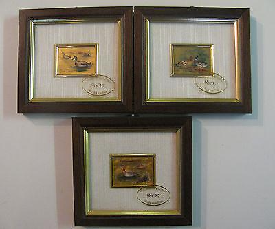 3 x Miniatur Kunstlithografie Goldfolie mit Rahmen 11,5 cm x 10,5 cm