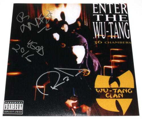 WU-TANG CLAN SIGNED ENTER THE WU-TANG (36 CHAMBERS) ALBUM FLAT PHOTO B w/COA X3