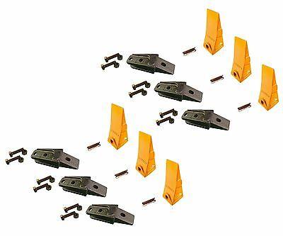 6 - Bobcat Style Mini Ex Skid Bolt On Bucket Shanks Teeth Pins Hardware