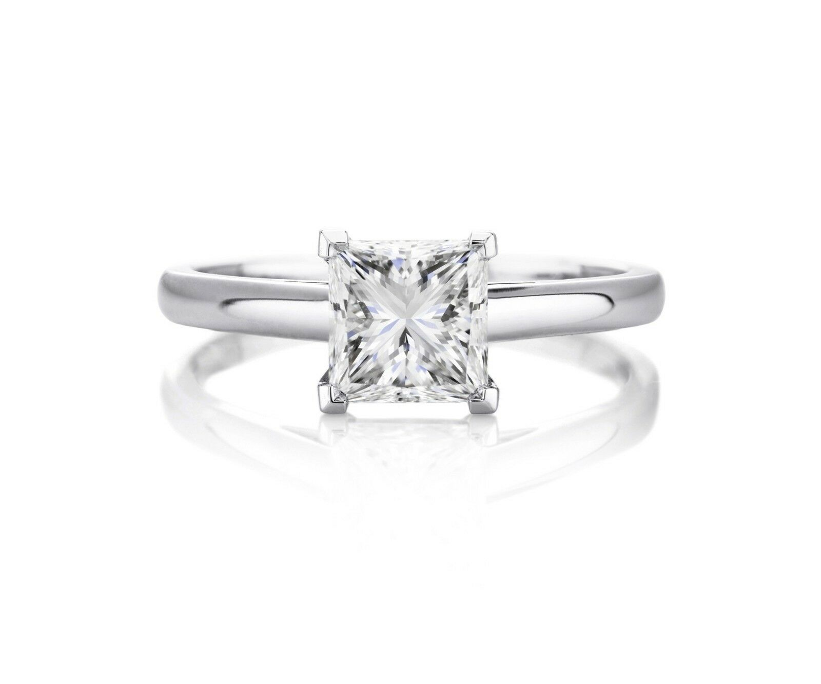 2.73 ct. H SI2 PRINCESS CUT DIAMOND GIA SOLITAIRE ENGAGEMENT RING 14K WHITE GOLD