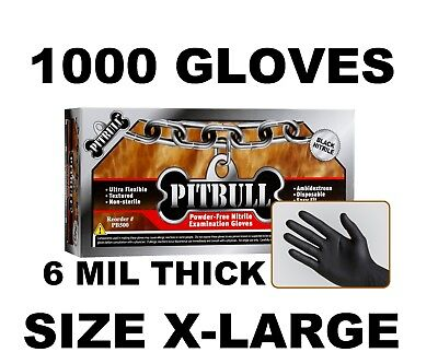 PITBULL Black Nitrile Gloves, 6 mil, Powder Free, Case of 1000 Size XL X-LARGE