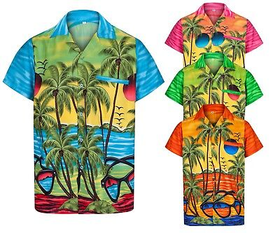 MENS HAWAIIAN SHIRT SUNGLASSES BRIGHT STAG BEACH HOLIDAY SUMMER LOUD FANCY DRESS