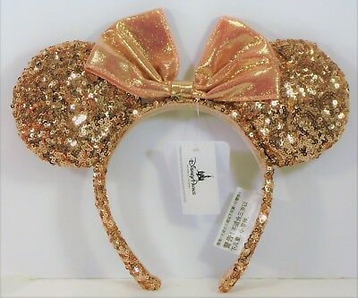 Disney Exclusive Minnie Mouse Ears Sequins Rose Gold Champagne Headband NEW CUTE
