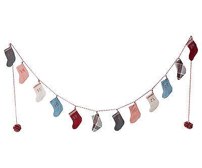Maileg - Christmas Advent Calendar Stocking Garland In Drumbox - Numbered Socks