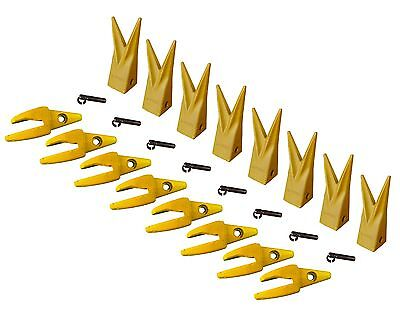 8 Cat J200 Style Backhoe Bucket Shanks 1 Lip Rock Teeth 1u-3202wtl 119-3204