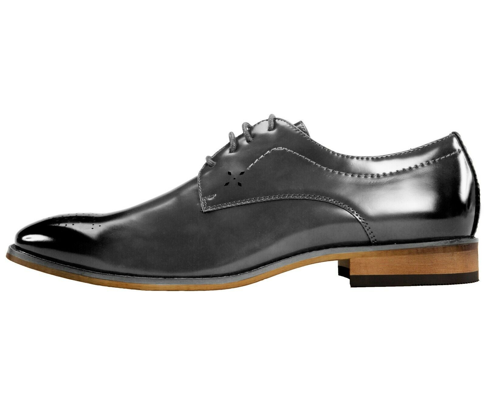 Amali Smooth Burnished Derby w/ Perforated Toe Men's Dress Shoe : Style Petfer  1