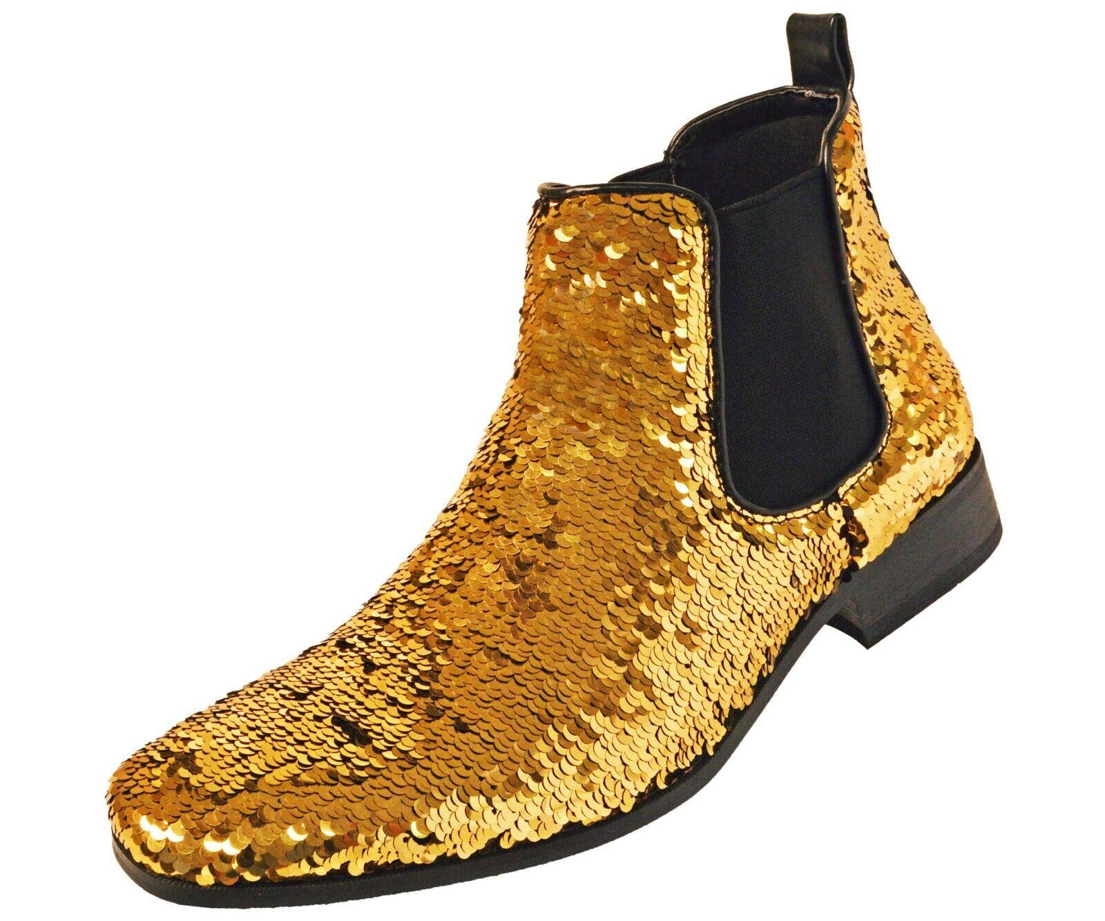 Amali Men's Reversible Metallic Sequins Chelsea Boot - Style Capri