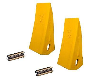 2 Backhoe Excavator Skid Bucket Heavy Duty Long Teeth W Pins - 230hxl 230pn